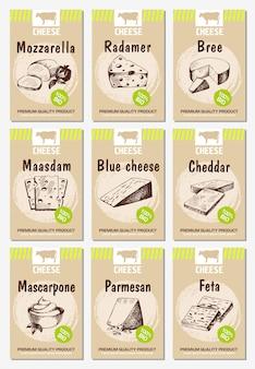 Cartazes de queijo definido. projeto de menu de comida com queijo.