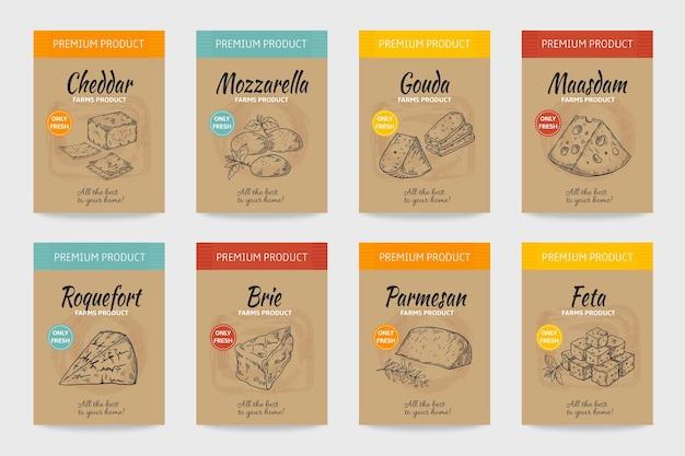 Cartazes de queijo. esboço vintage de comida gourmet, design de menu orgânico, pacote de queijo e produtos lácteos.