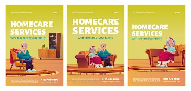 Cartazes de serviços de atendimento domiciliar