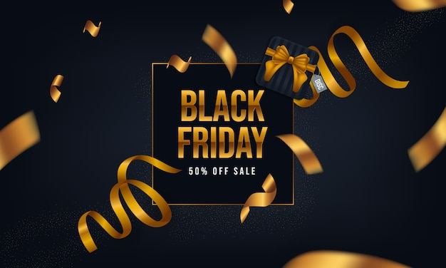 Cartazes de sexta-feira negra com fita, caixas e cor dourada