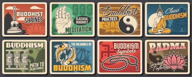 Cartazes de símbolos de religião e meditação budismo