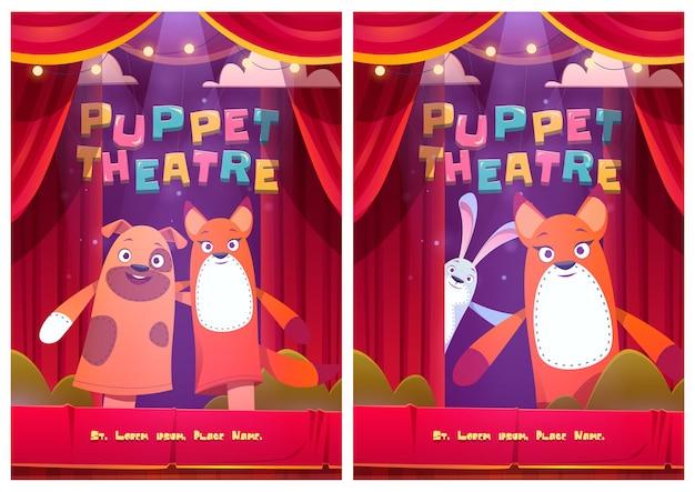 Cartazes de teatro de fantoches com bonecos de animais