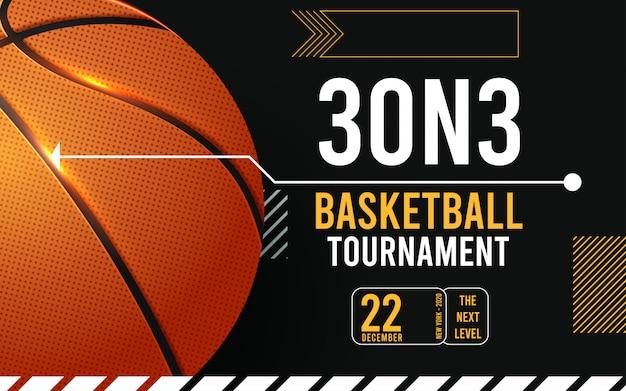 Cartazes de torneio de basquete, panfleto com bola de basquete