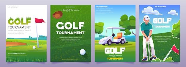 Cartazes de torneio de golfe dos desenhos animados