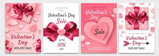Cartazes de venda do dia dos namorados. composição romântica com corações, pétalas e presentes.