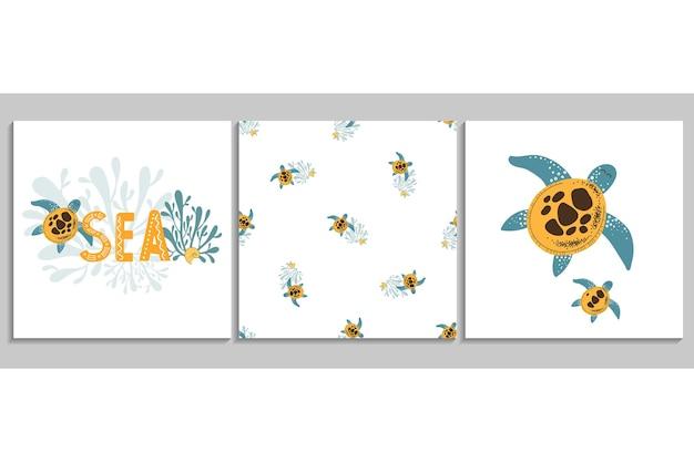 Cartazes de vetor com tartaruga desenhada à mão padrão sem emenda com concha de algas marinhas tartaruga Vetor Premium