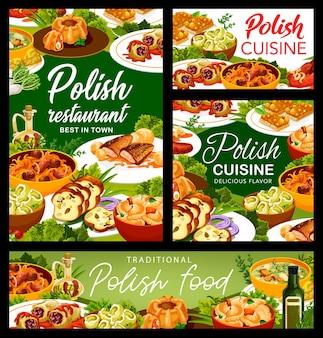 Cartazes de vetor de menu de refeições de restaurante de comida polonesa