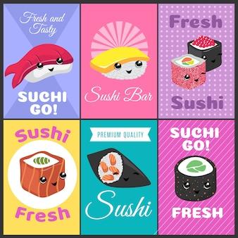 Cartazes de vetor de sushi vintage no estilo cômico de japão