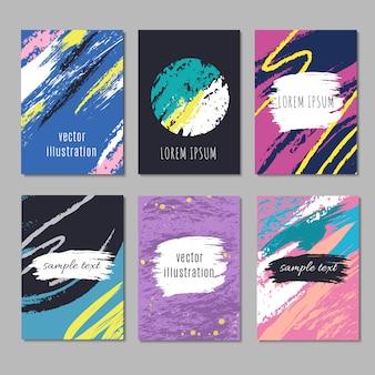 Cartazes de vetor moderno artístico na moda com mão de desenho desenho texturas de traçado. cartões de moda criativos