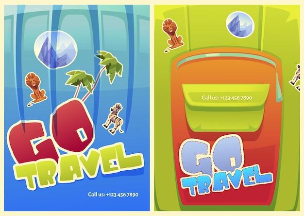 Cartazes de viagens com bolsas de bagagem com adesivos