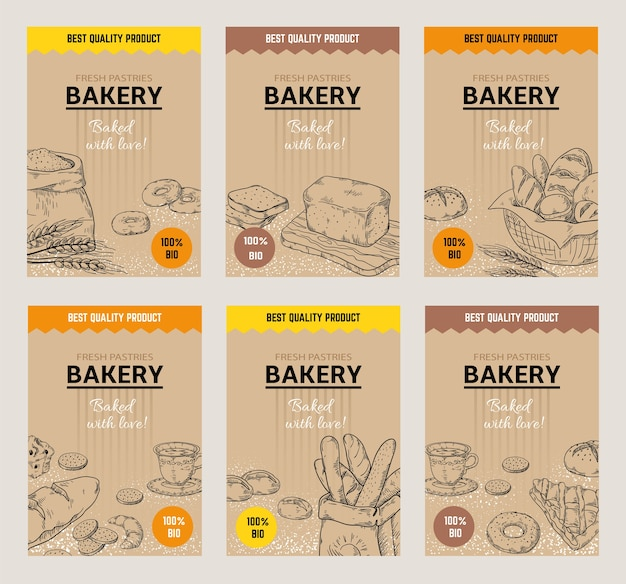 Cartazes desenhados à mão de padaria. modelo de design de menu de pão vintage
