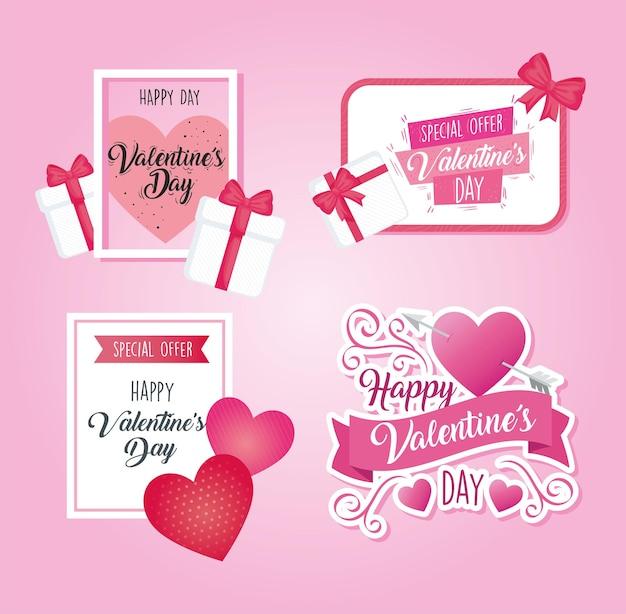Cartazes do dia dos namorados com inscrições e corações