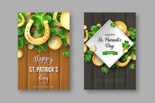 Cartazes do feriado do cumprimento do dia do st. patricks.