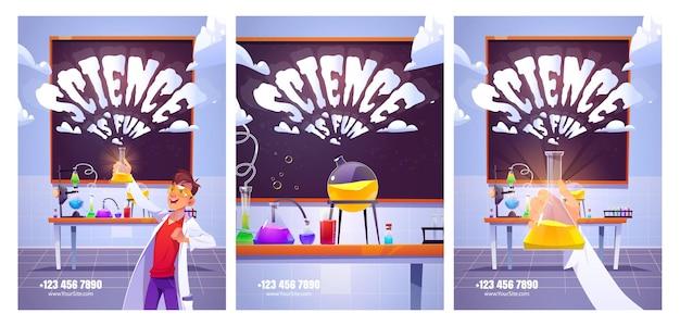 Cartazes do laboratório de ciências para estudo e experimentos