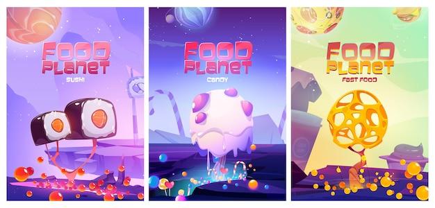 Cartazes do planeta alimentar com paisagem de fantasia com sushi fast food, doces e árvores de queijo