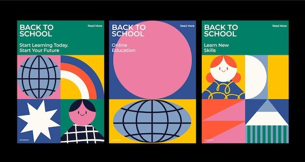 Cartazes escolares formas abstratas conjunto de ilustrações vetoriais planas voltar às aulas