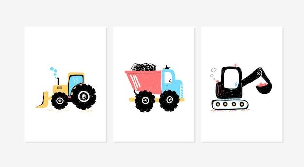 Cartazes fofos com estampas de vetor de carro para quarto de bebê, cartão de chá de bebê infantil e camiseta de bebê