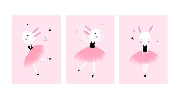 Cartazes fofos com estampas de vetor de coelhinhos de balé para o quarto do bebê chá de bebê cartão infantil