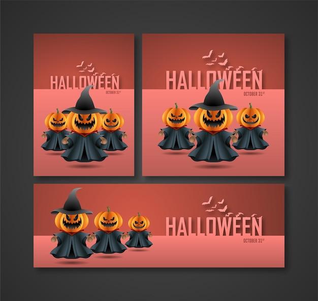 Cartazes folhetos anúncios na mídia e banners para as festas noturnas de halloween personagem fantasma de abóbora como bruxa