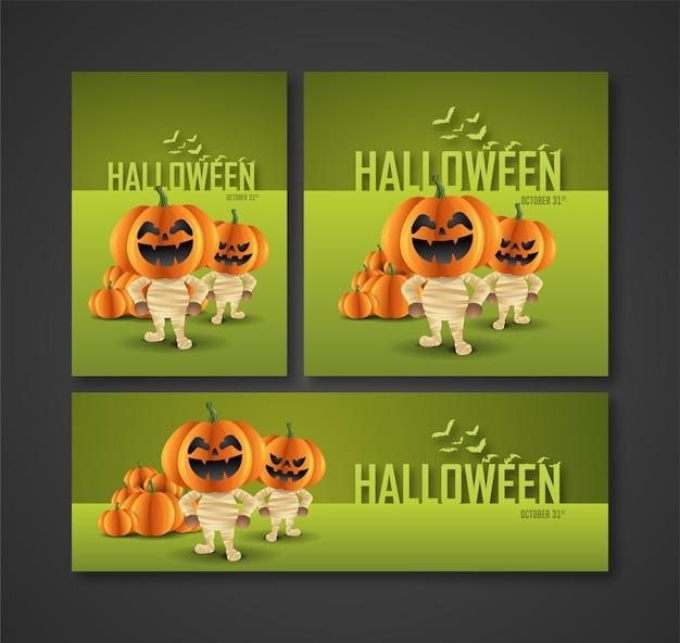 Cartazes folhetos anúncios na mídia e banners para as festas noturnas de halloween personagem fantasma de abóbora como múmia
