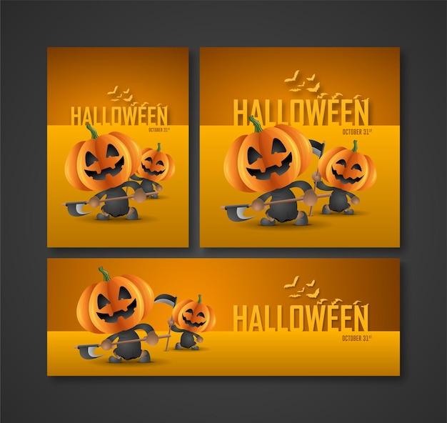Cartazes, folhetos e banners para as festas noturnas de halloween personagem fantasma de abóbora como soul take