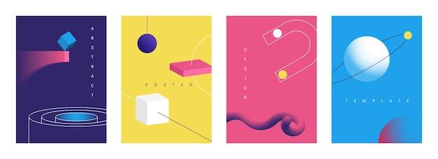 Cartazes geométricos em 3d. banners futuristas retrô abstratos com objetos de arte de geometria brilhante, coleções de brochuras com formas de tecnologia. vetor definido planos de fundo de ilustração geométrica