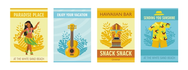 Cartazes havaianos coloridos com ilustração vetorial de símbolos tradicionais
