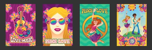 Cartazes hippie de paz e amor