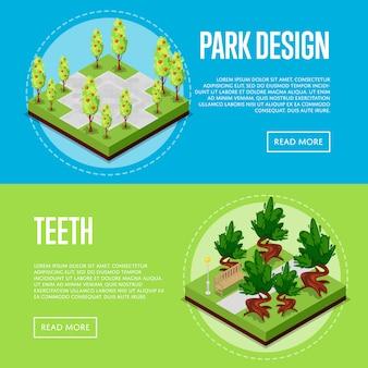Cartazes isométricos de paisagem de parque