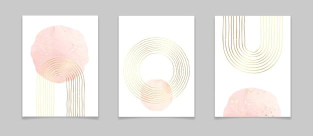 Cartazes mínimos abstratos com linhas douradas e elementos em aquarela