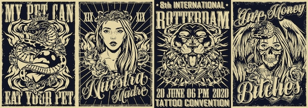 Cartazes monocromáticos de tatuagem vintage