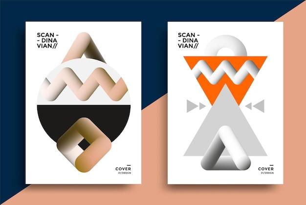Cartazes no estilo escandinavo com formas geométricas gráficas ilustração vetorial para flyer