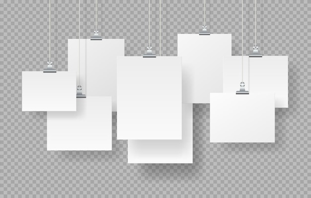 Cartazes pendurados. maquete de molduras em branco realista, letreiros vazios brancos isolados em fundo transparente. ilustração vetorial mock up sinais de papel com sombras definidas
