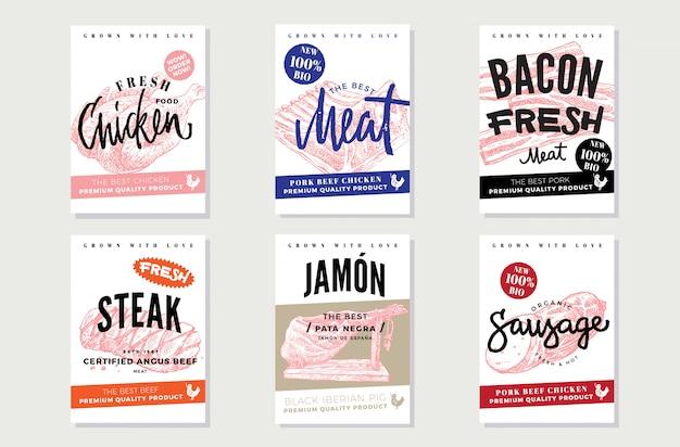 Cartazes promocionais de carne natural