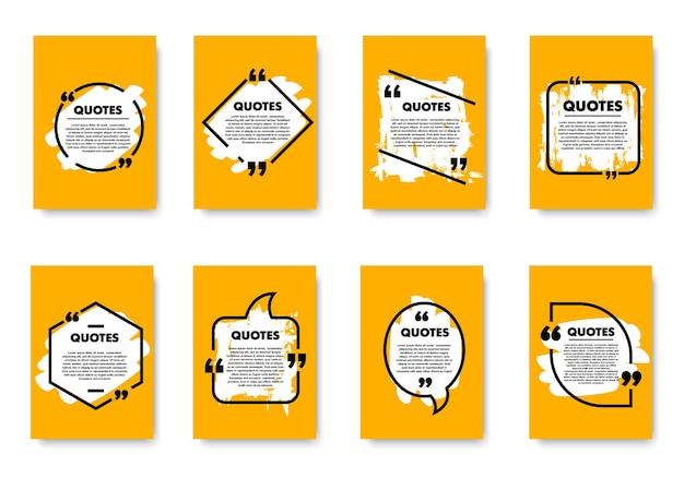 Cartazes retrô com mensagem de bolha e caixa de citação. cartões amarelos de vetor definido com espaço de cópia de formas diferentes para inserir texto, informações ou publicidade. elementos de design isolados em fundo branco
