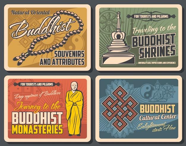 Cartazes retrô de religião budismo, símbolos budistas