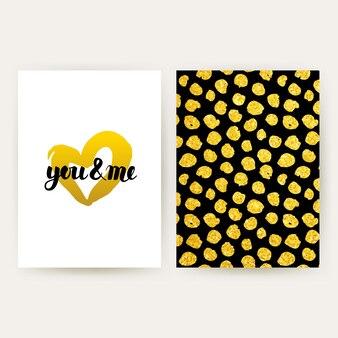 Cartazes retro de você e eu. ilustração em vetor de design padrão ouro com letras manuscritas.