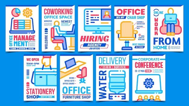 Cartazes sobre o processo de trabalho do escritório