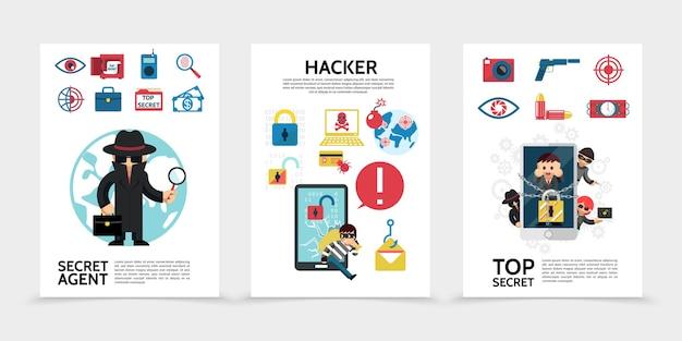 Cartazes sobre planos de hackers