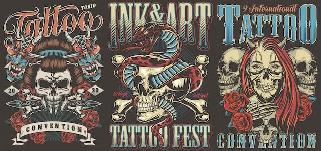 Cartazes vintage coloridos de convenções de tatuagem