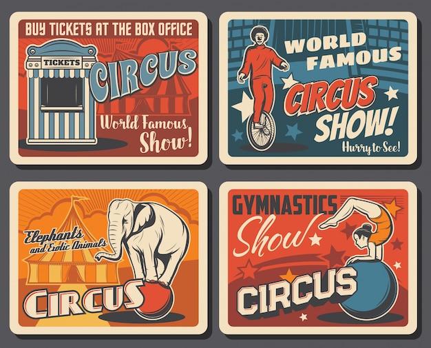 Cartazes vintage do festival do parque de diversões do circo