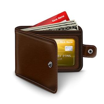 Carteira aberta de couro com contas de dinheiro do cartão de crédito