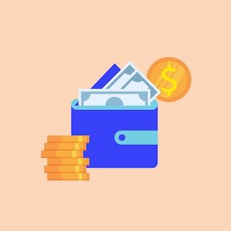 Carteira azul com notas de papel e moedas de dólar