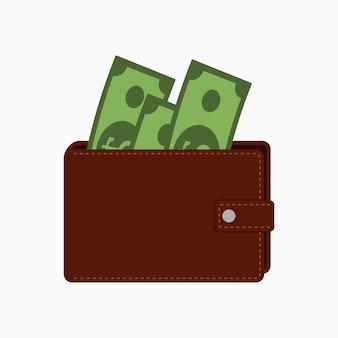 Carteira com dinheiro. bolsa com notas. ilustração vetorial em estilo simples.