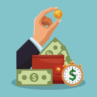 Carteira com dinheiro e mão com moedas