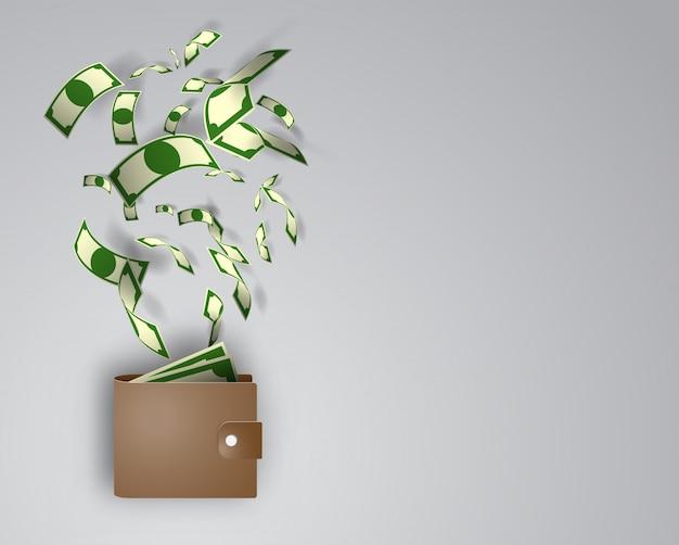 Carteira com dinheiro papel arte ilustração vector