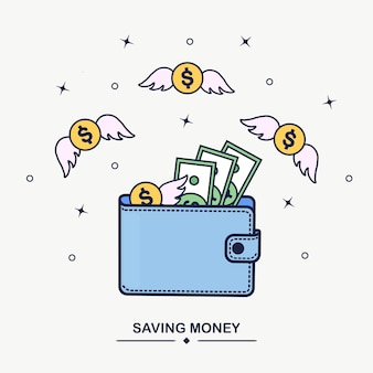 Carteira com dinheiro voador
