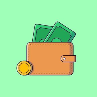 Carteira com ilustração plana de dinheiro e moeda