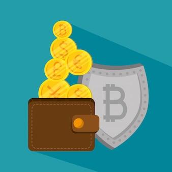 Carteira com moeda de bitcoin e escudo de economia