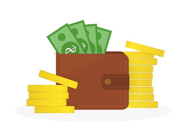 Carteira com moedas e notas de ouro